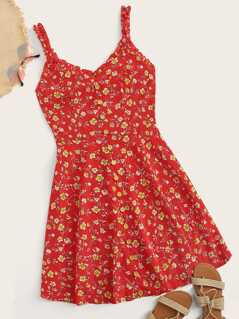 Frill Trim Single Breasted Ditsy Floral Sundress