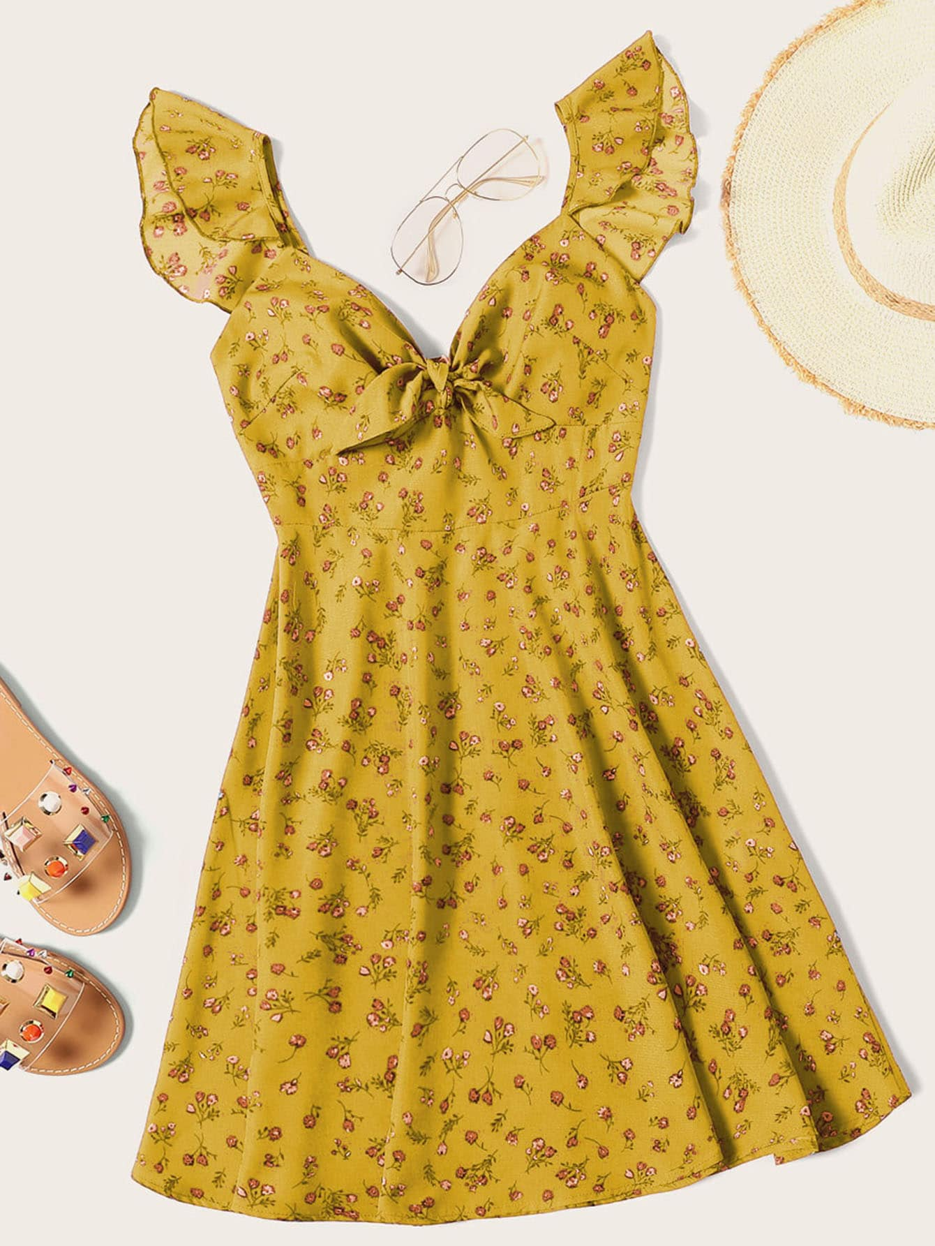 Фото - Платье с цветочным принтом, оборкой и узлом от SheIn цвет жёлтые