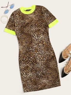 Neon Leopard Print Bodycon Ringer Dress