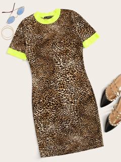 Neon Leopard Print Bodycon Ringer Dress