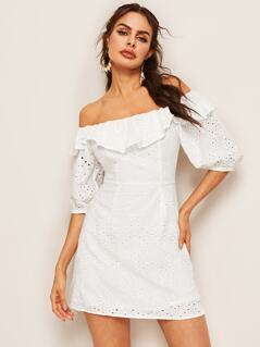 Flounce Foldover Off Shoulder Schiffy Dress