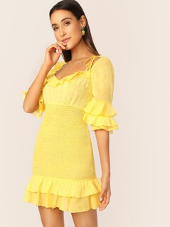 Neon Yellow Layered Ruffle Eyelet Embroidered Shirred Dress