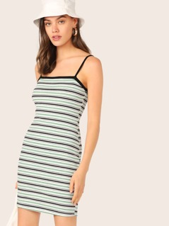 Striped Bodycon Slip Dress