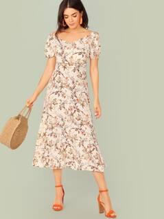Botanical Print Wrap Front Split Dress