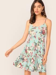Floral Print Flippy Hem Slip Dress