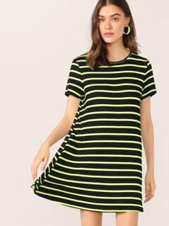 Neon Lime Striped Tee Dress