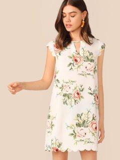 Floral Print Keyhole Neck Scallop Edge Dress