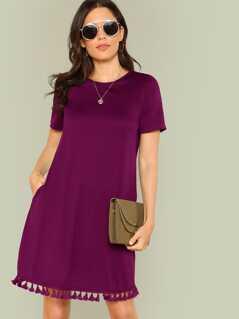 Tassel Hem Side Pocket Tee Dress
