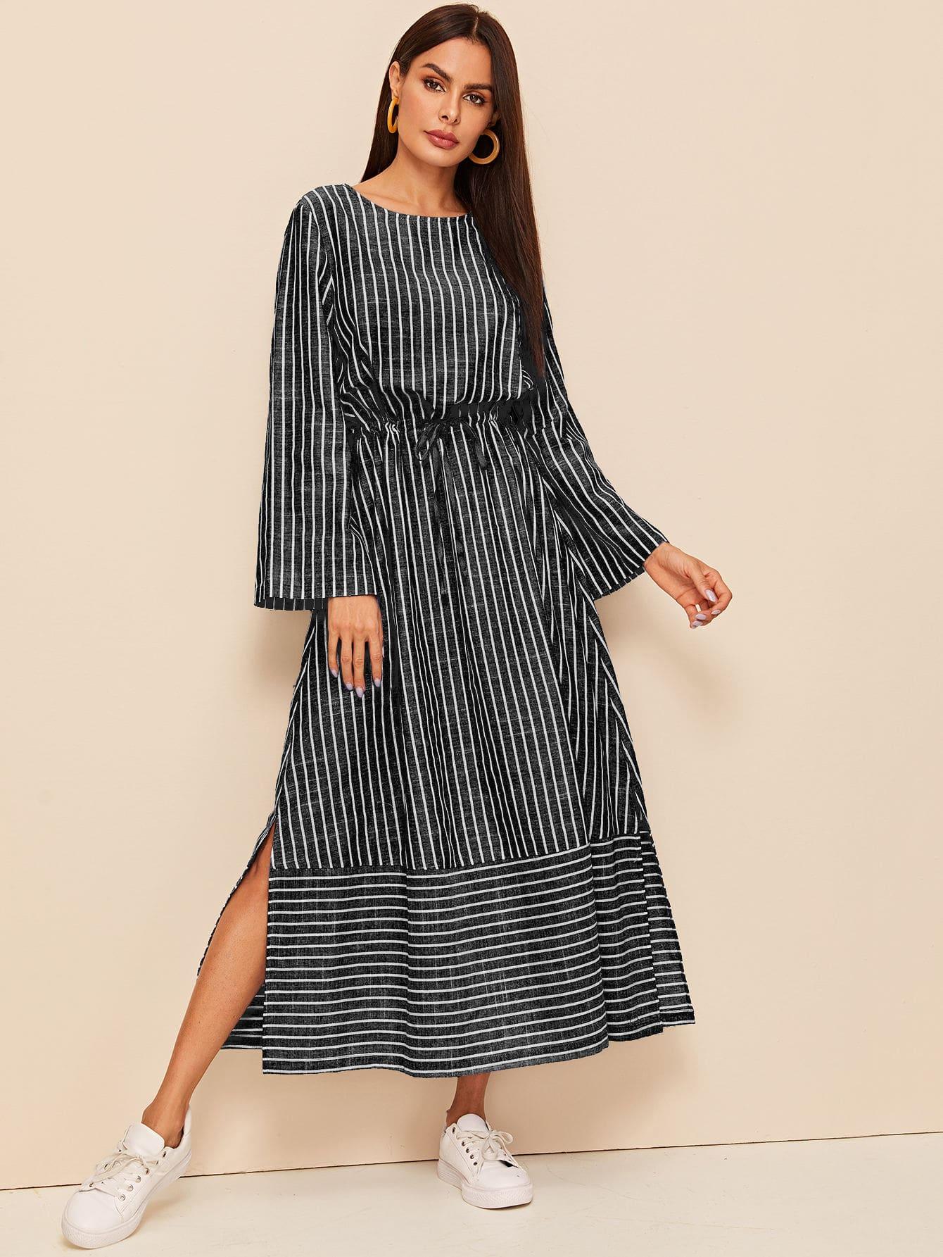 M-slit Hem Drawstring Waist Striped Dress