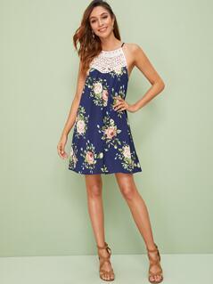 Lace Yoke Insert Floral Print Slip Dress