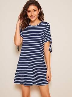 Tied Cuff Striped Print T-shirt Dress
