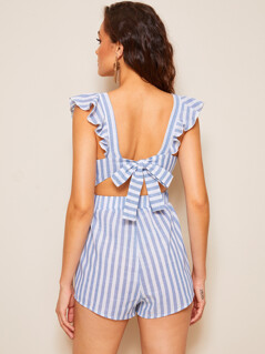 Square Neck Ruffle Armhole Tie Back Striped Romper