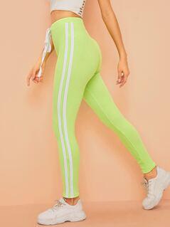 Neon Lime Striped Side Rib-knit Leggings