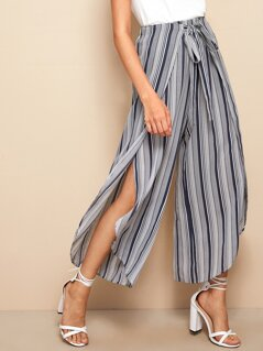 Striped Tie Front Petal Hem Wide Leg Pants