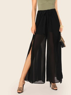 Tie Waist Split Side Semi Sheer Pants