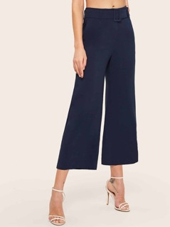 Square Belted Wide Leg Culotte Pants