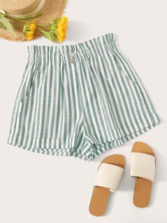 Button Front Cuffed Striped Shorts