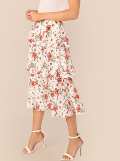 Wide Waistband Tiered Layer Floral Print Skirt