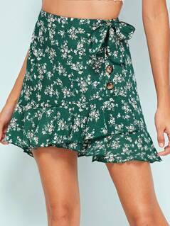 Asymmetrical Ruffle Trim Knot Side Buttoned Skirt