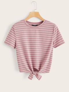 Knot Hem Rib-knit Striped Top