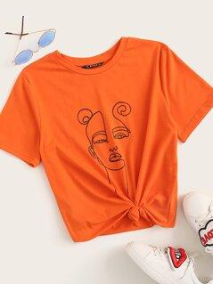 Neon Orange Figure Print Tee