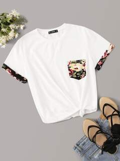 Floral Print Pocket Patch Tee