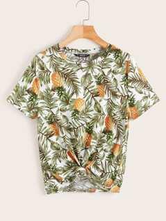 Tropical and Pineapple Print Tee