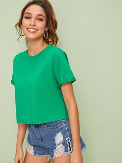 Cuff Sleeve Crop Tee