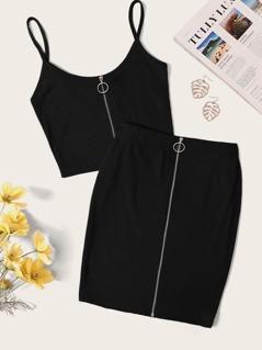 O-Ring Zip Front Rib-knit Crop Cami & Bodycon Skirt Set