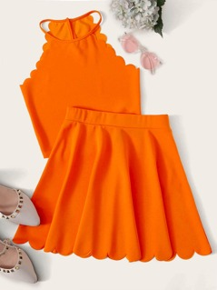 Neon Orange Halter Top & Scalloped Trim Skirt Set