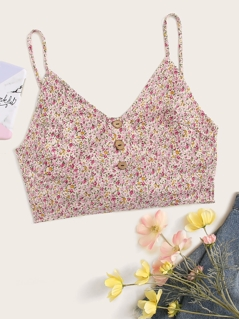 Button Front Ditsy Floral Cami Crop Top