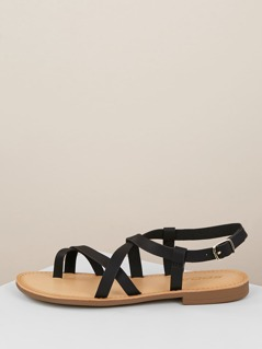 Toe Loop Strappy Buckled Slingback Flat Sandals