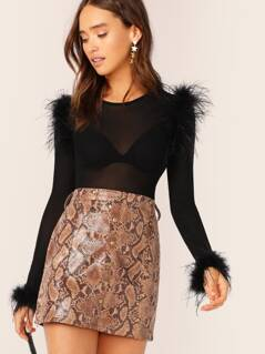Sheer Mesh Feather Trim Long Sleeve Top