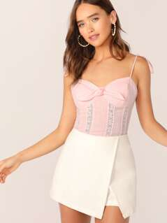 Tie Front Pleated Lace Cami Tank Top
