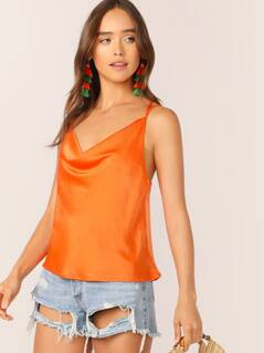 Cowl Neck Strappy Satin Cami Tank Top