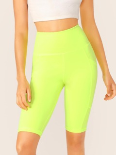 High Waisted Side Pockets Neon Short Leggings