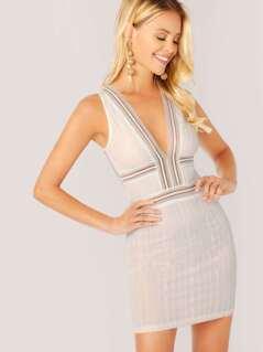 Lace V-Neck Back Cut Out Sleeveless Mini Dress