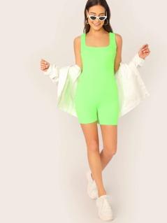 Scoop Neck Neon Sleeveless Knit Stretch Romper
