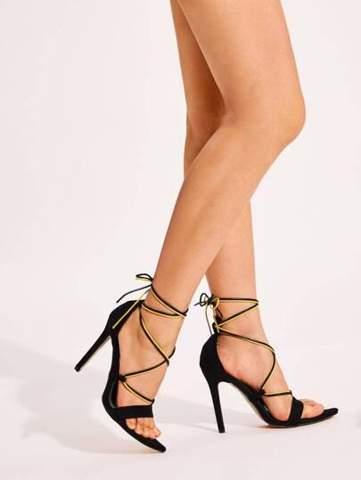 SheIn / Tie Leg Open Toe Stiletto Heels