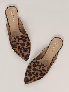 Pointed Toe Leopard Flat Slide Mules