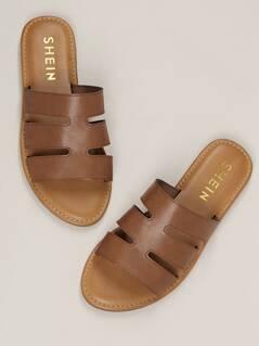 Dual Cut Outs Flat Slide Sandals