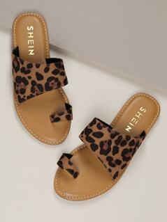 Leopard Print Toe Loop Flat Slide On Sandals
