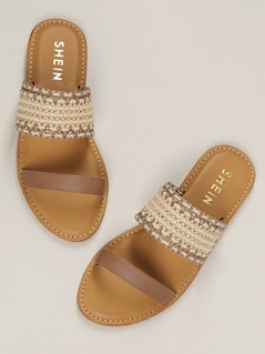 Woven Straw Double Band Open Toe Slide Sandals