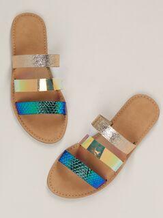Metallic Snakeskin Triple Band Flat Slide Sandals