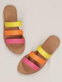 Neon Triple Straps Flat Slide Sandals
