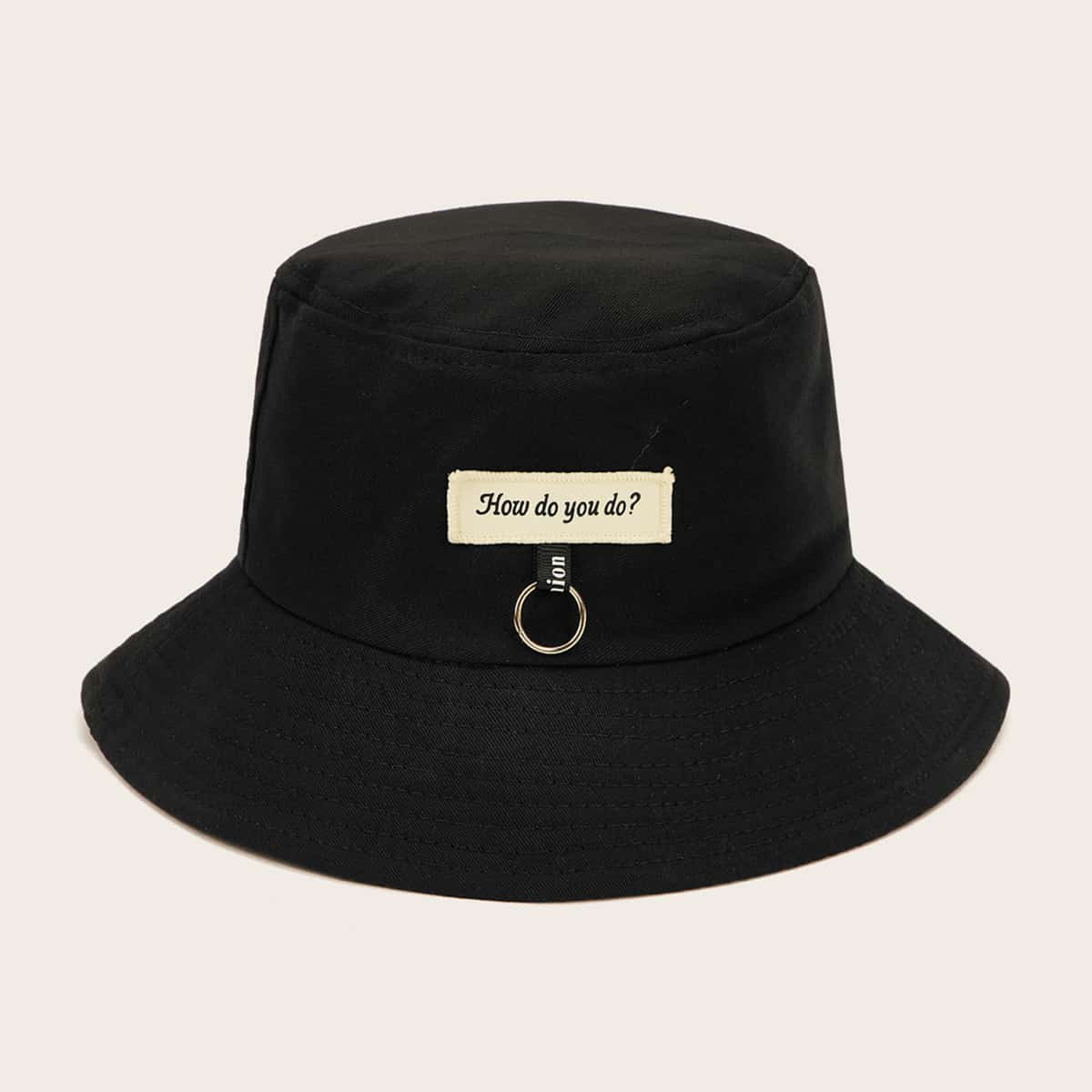 Мужская шляпа с пряжкой и текстовым узором от SHEIN