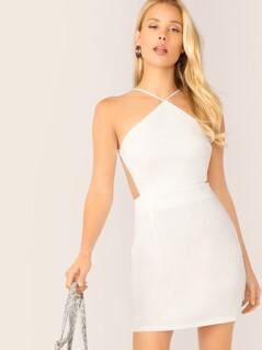 Solid Strappy Back Halter Dress