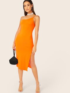 Neon Orange One Strappy Split Dress