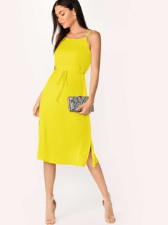Neon Yellow Split Side Belted Backless Cami Dress