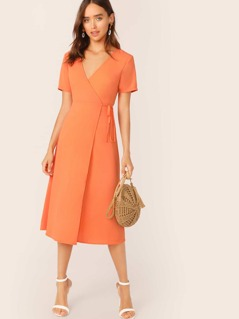 Neon Orange Surplice Neck Wrap Knotted Dress